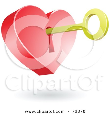 Royalty-Free (RF) Clipart Illustration of a Golden Key In The Hole Of A 3d Heart by cidepix