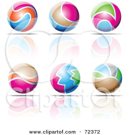 Royalty-Free (RF) Clipart Illustration of a Digital Collage Of Colorful 3d Spheres With Reflections by cidepix