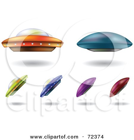 Royalty-Free (RF) Clipart Illustration of a Digital Collage Of Colorful UFOs by cidepix