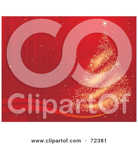 Royalty-Free (RF) Clipart Illustration of a Red Grid Background With A Sparkly Gold Christmas Tree by cidepix