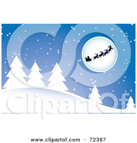 Royalty-Free (RF) Clipart Illustration of Santa And His Reindeer Silhouetted In Front Of A Moon Over A Snow Covered Forest by cidepix