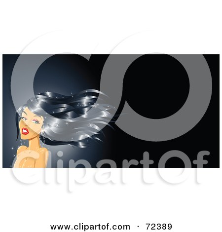 Royalty-Free (RF) Clipart Illustration of a Glamorous Woman With Long, Black Wavy Hair by cidepix