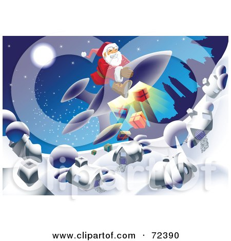 Royalty-Free (RF) Clipart Illustration of Santa Flying On A Rocket And Dropping Gifts Down Over A Village by cidepix