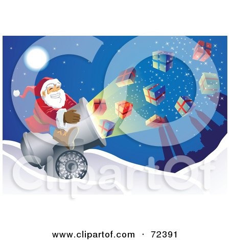 Royalty-Free (RF) Clipart Illustration of Santa Shooting Presents Out Of A Cannon by cidepix