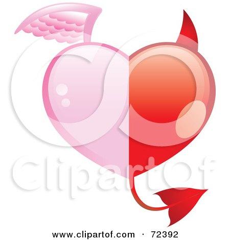 Royalty Free RF Clipart Illustration Of A Half Angel Half Devil Heart