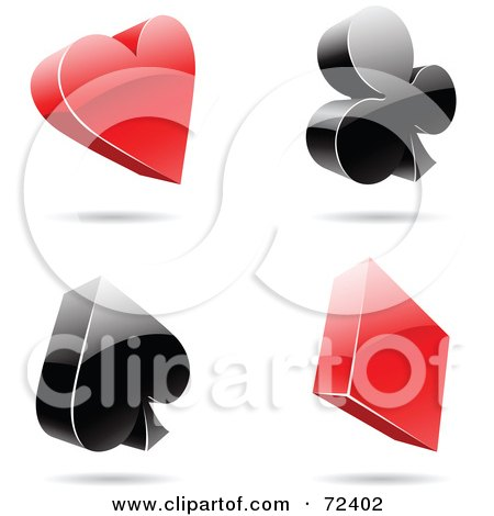 Royalty-Free (RF) Clipart Illustration of a Digital Collage Of Red And Black 3d Card Suits by cidepix