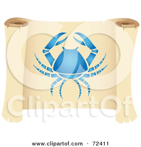 Royalty-Free (RF) Clipart Illustration of a Blue Cancer Icon On A Parchment Scroll by cidepix