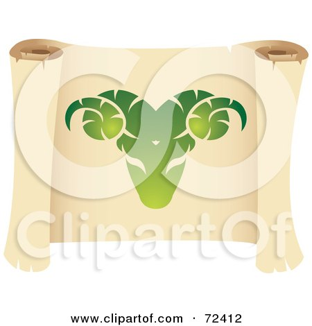 Royalty-Free (RF) Clipart Illustration of a Green Aries Icon On A Parchment Scroll by cidepix