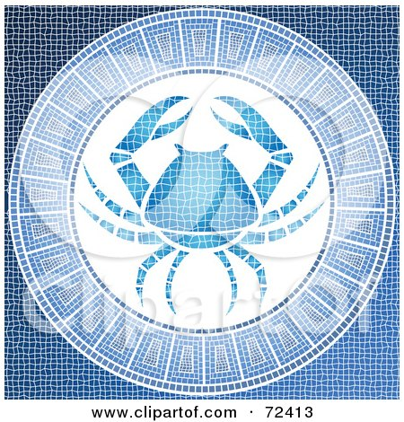 Royalty-Free (RF) Clipart Illustration of a Blue Cancer Crab Horoscope Mosaic Tile Background by cidepix