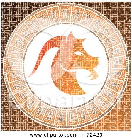 Royalty-Free (RF) Clipart Illustration of an Orange Capricorn Horoscope Mosaic Tile Background by cidepix