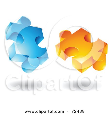 Royalty-Free (RF) Clipart Illustration of a Blue And Orange Jigsaw 3d Puzzle Pieces by cidepix