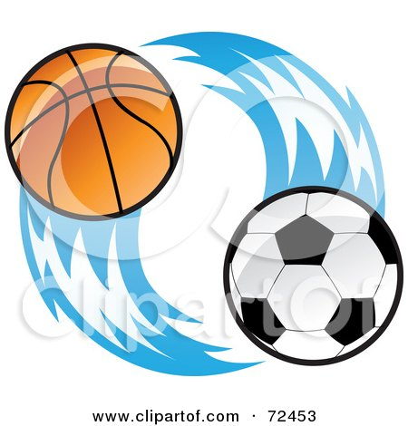 Royalty-Free (RF) Clipart Illustration of a Basketball And Soccer Ball With Blue Flames by cidepix