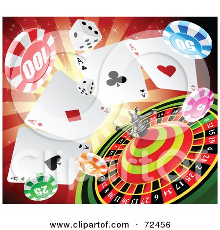 Royalty-Free (RF) Clipart Illustration of Dice, Poker Chips And A Roulette Wheel Over A Red Burst by cidepix