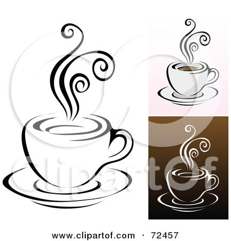 Royalty-Free (RF) Clipart Illustration of a Digital Collage Of Coffee Cups With Swirly Steam by cidepix