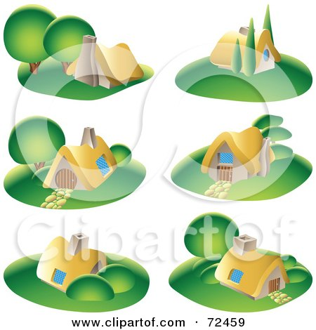 Royalty-Free (RF) Clipart Illustration of a Digital Collage Of Small Cottages With Green Lawns by cidepix