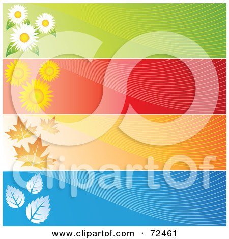 Royalty-Free (RF) Clipart Illustration of a Digital Collage Of Blank Horizontal Season Banners by cidepix