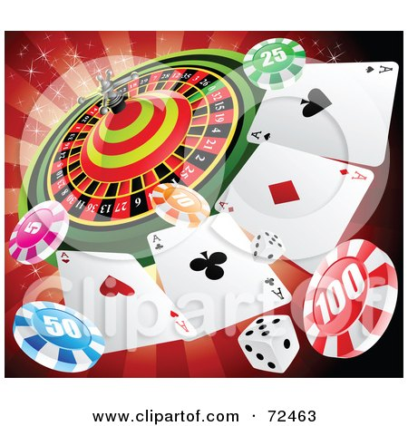 Royalty-Free (RF) Clipart Illustration of a Casino Roulette Wheel With Playing Cards, Poker Chips And Dice Over Red by cidepix