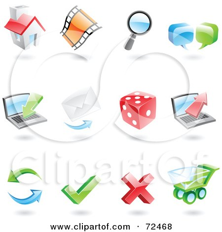 Royalty-Free (RF) Clipart Illustration of a Digital Collage Of 3d Internet Icons by cidepix