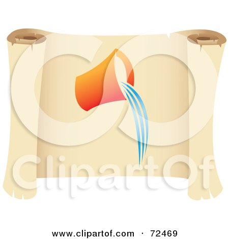 Royalty-Free (RF) Clipart Illustration of an Aquarius Icon On A Parchment Scroll by cidepix