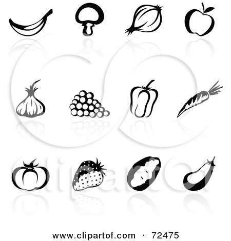 Royalty-Free (RF) Clipart Illustration of a Digital Collage Of Black And White Fruit And Veggie Icons With Reflections by cidepix