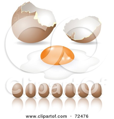 Royalty-Free (RF) Clipart Illustration of a Digital Collage Of Brown Organic Eggs In A Row And A Cracked Shell by cidepix