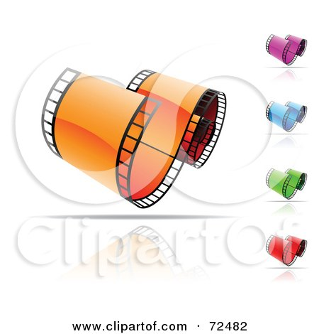 Royalty-Free (RF) Clipart Illustration of a Digital Collage Of Colorful Curved Film Strips With Reflections by cidepix