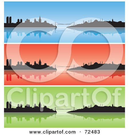 Royalty-Free (RF) Clipart Illustration of a Digital Collage Of Three Blue, Red And Green Istanbul Turkey Banners by cidepix