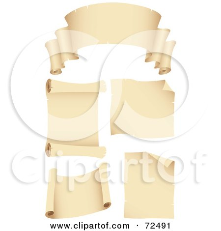 Royalty-Free (RF) Clipart Illustration of a Digital Collage Of Blank Beige Scroll Banners And Signs by cidepix
