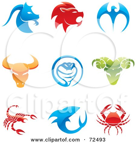Royalty-Free (RF) Clipart Illustration of a Digital Collage Of Colorful 3d Animal Logo Icons by cidepix