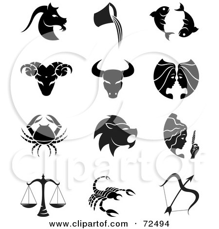 Royalty-Free (RF) Clipart Illustration of a Digital Collage Of Black And White Horoscope Icons by cidepix