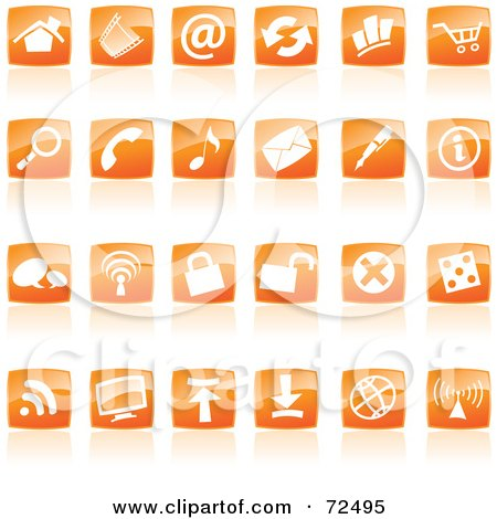 Royalty-Free (RF) Clipart Illustration of a Digital Collage Of Shiny Orange Square Website Icons by cidepix