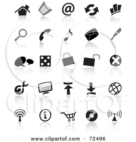 Royalty-Free (RF) Clipart Illustration of a Digital Collage Of Black And White Small Icons by cidepix