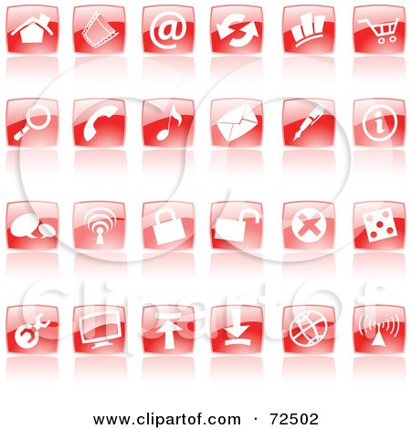 Royalty-Free (RF) Clipart Illustration of a Digital Collage Of Shiny Red Square Website Icons by cidepix