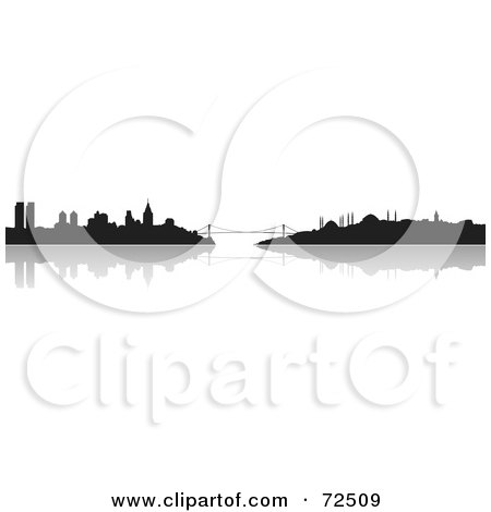 Royalty-Free (RF) Clipart Illustration of The Istanbul, Turkey Skyline In Silhouette With A Reflection by cidepix