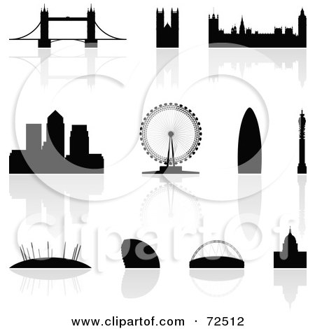Royalty-Free (RF) Clipart Illustration of a Digital Collage Of Silhouetted London Landmarks With Reflections by cidepix