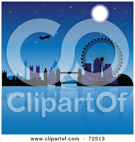 Royalty-Free (RF) Clipart Illustration of a Plane Over The London Skyline At Night by cidepix