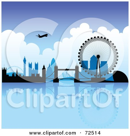 Royalty-Free (RF) Clipart Illustration of a Plane Over The London Skyline On A Blue Day by cidepix