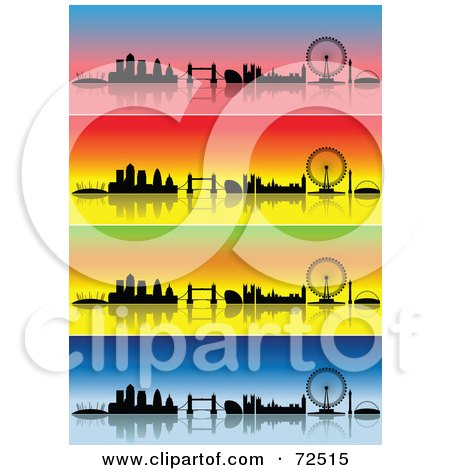 Royalty-Free (RF) Clipart Illustration of a Digital Collage Of Colorful Four Seasons London Skyline Banners by cidepix