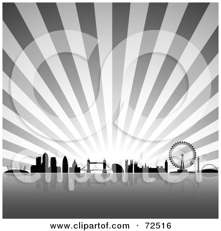 Royalty-Free (RF) Clipart Illustration of The London Skyline Against A Gray Burst by cidepix