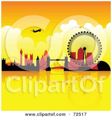 Royalty-Free (RF) Clipart Illustration of a Plane Over The London Skyline Against An Orange Sunset by cidepix
