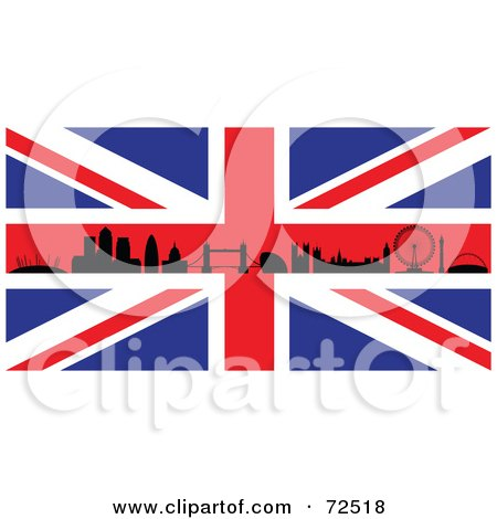 Royalty-Free (RF) Clipart Illustration of The Silhouetted London Skyline On A British Flag by cidepix