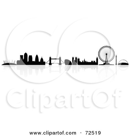 Royalty-Free (RF) Clipart Illustration of The Silhouetted London Skyline With A Reflection by cidepix