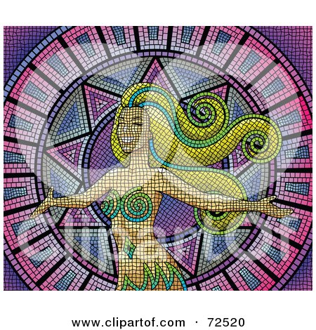 Royalty-Free (RF) Clipart Illustration of a Mosaic Woman With Long Hair Over Purple And Pink by cidepix
