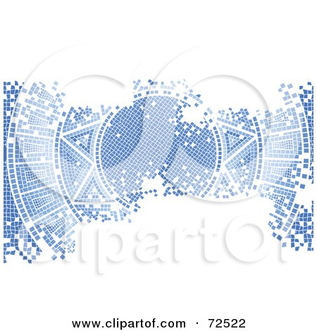 Royalty-Free (RF) Clipart Illustration of a Blue Aged Mosaic Tile Background Of The Sun, With White Space by cidepix
