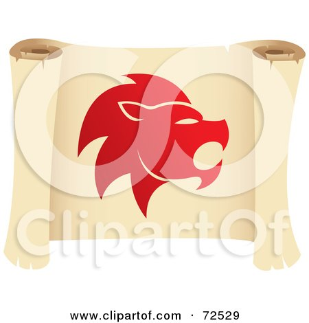 Royalty-Free (RF) Clipart Illustration of a Red Leo Icon On A Parchment Scroll by cidepix