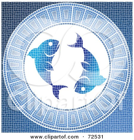 Royalty-Free (RF) Clipart Illustration of a Blue Pisces Fish Horoscope Mosaic Tile Background by cidepix