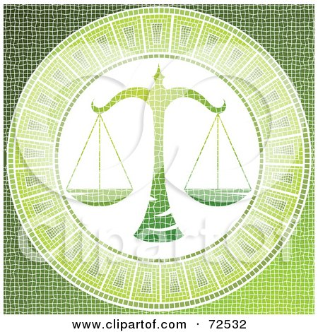 Royalty-free clipart picture of a green libra scale horoscope mosaic tile