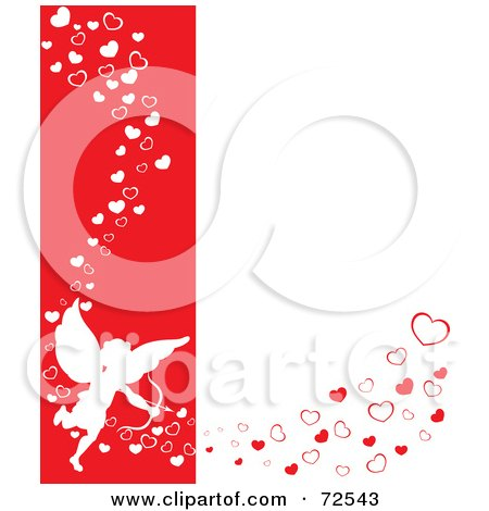 Royalty-Free (RF) Clipart Illustration of a Red And White Background With Cupid And Flowing Hearts by cidepix
