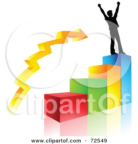 Royalty-Free (RF) Clipart Illustration of a Celebrating Silhouetted Man On Top Of A Colorful Bar Graph by cidepix