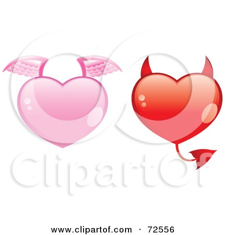 Royalty-Free (RF) Clipart Illustration of a Digital Collage Of Pink And Red Angel And Devil Hearts by cidepix